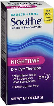 Bausch + Lomb Soothe Lubricant Eye Ointment Night Time - 0.13 oz, Pack of 4 ()
