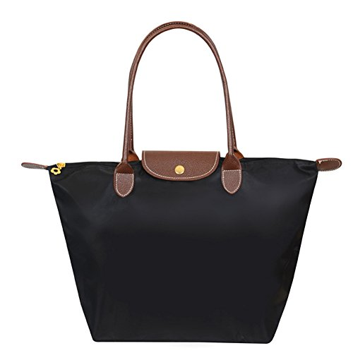 Beverly Girls Classy Waterproof Foldable Tote Shoulder Bag (medium, black)