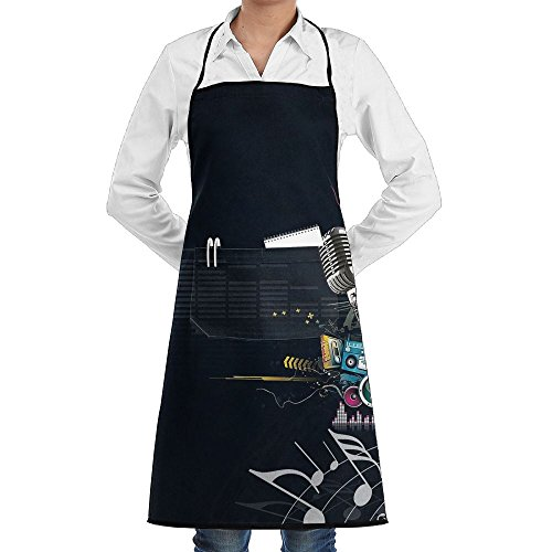 Love Music Microphone Sewing Aprons With Pocket Kits Adjustable Home Kitchen Apron]()