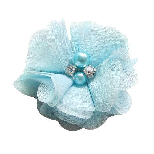 Chenkou Craft Pack of 12pcs Chiffon Flowers Ribbon Bows W/Beads 2-3/8