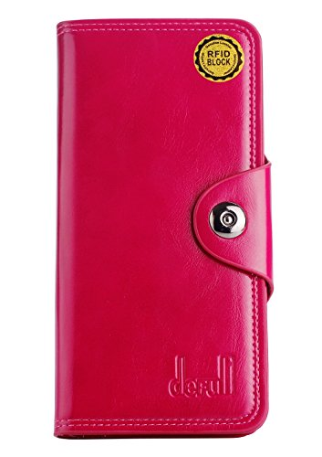 DEFULI Fashion Royal RFID Blocking Secure Women Wallet Pocket with 24 Card Slots (Rose)