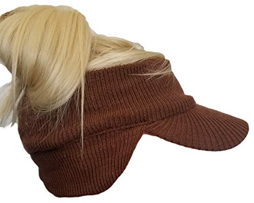 Chunky Knit Open Visor Brim Ear Flap Hat, Winter Visor Headband Ponytail Beanie (Brown)
