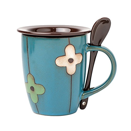 Verdental Retro Ceramic Drum Shaped Coffee Mug with Lid and