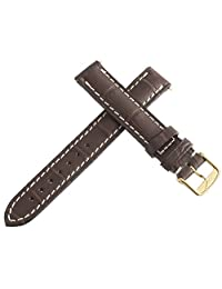 Longines Women's 14mm Brown Leather Replacement Watch Band Strap Gold Buckle