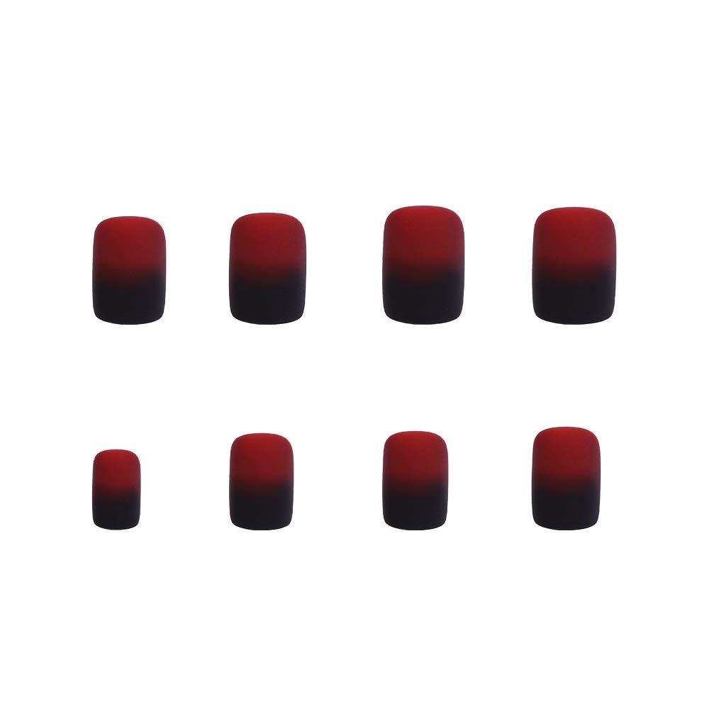 Uñas postizas con 12 tamaños diferentes y diseño navideño, de color negro y rojo mate manzana, diseño de cuento de hadas (24 unidades): Amazon.es: Belleza