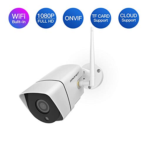Full HD 1080P Wireless Security Camera, SMONET IP66 2.0 Mega-Pixel Home Security Camera, H.264+ WiFi IP Camera with 65Ft Night Vision, Support ONVIF & Cloud Storage