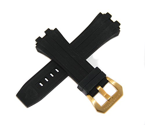 Swiss Legend 28MM Black Silicone Watch Strap Stainless Steel Gold Buckle fits 49mm Challenger Watch