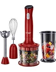 Russell Hobbs Desire, 3-i-1 stavmixer, 500W, 2 hastigheter, rostfritt stål, BPA-fri behållare, ballongvisp, minihackare, diskmaskinssäkra delar, röd, 24700-56