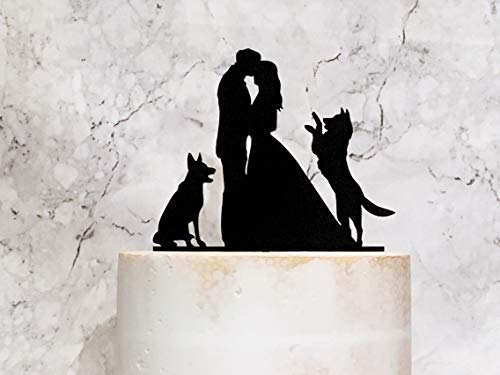 Bride Groom and German Shepherd Dogs Silhouette Wedding Cake Topper Couple and 2 Dogs Wedding Cake Topper with German Shepherd Cake decor (German Shepherd Cake Topper)