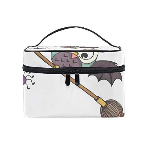 Makeup Bag Halloween With Broom Cosmetic Bag Portable Large Toiletry Bag for Women/Girls Travel ()