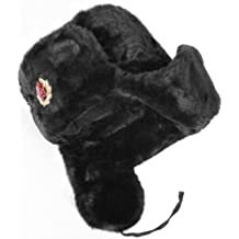 Russian Soviet Army Fur Military Cossack Ushanka Hat (Black, 58/M)