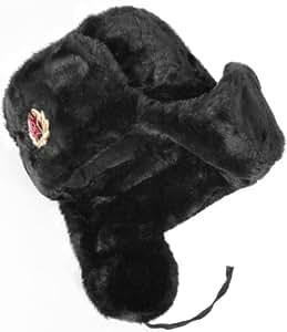 Russian Soviet Army Fur Military Cossack Ushanka Hat (Black, 56(S))