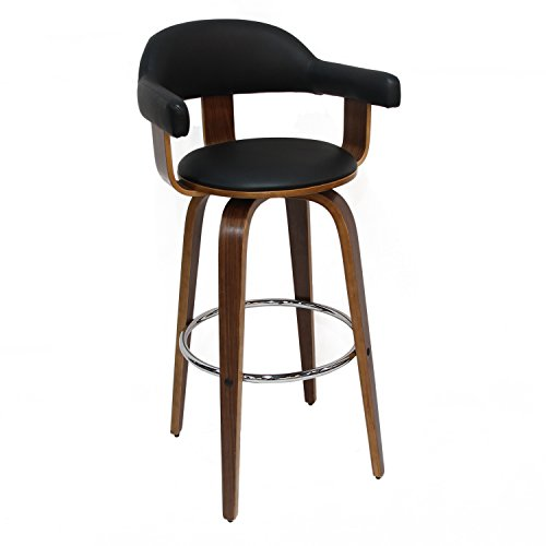 Deluxe Seat Bar Stool - DecentHome Wood Frame, Black Seat PU Deluxe Bar Stools