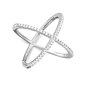 X Cross Ring with Cubic Zirconia Rhodium on Sterling Silver