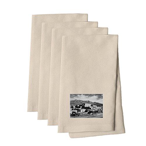 Taos Pueblo New Mexico (Adams) Cotton Canvas Dinner Napkin, Set of 4 (Party America Pueblo)