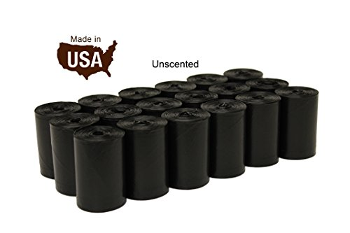 Fivestarpet 9  X 15  Made In Usa Unscented Poop Bags Dog Waste Bags  Free Dispenser  18 Refill Rolls  270 Count  Black