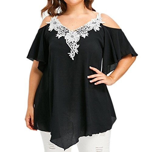 NINGSUN Estive Moda Donna Floreale Pizzo Impreziosito T-Shirt Taglie Forti V-Collo Top Senza Spalline Casual Accogliente Maglietta Camicetta Top Nero