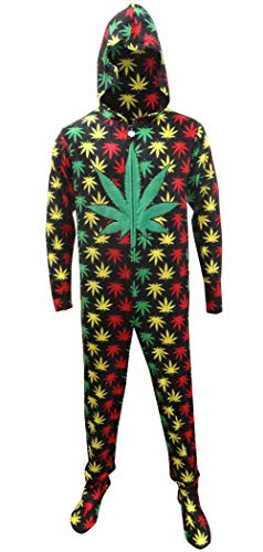 Underboss Men's Rasta Ganja Weed Leaf Footie One Piece Pajamas with Hood (Small) Black (Weed Pyjamas)