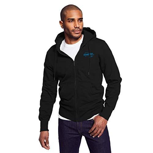 (Rigg-hoodie Mens Black Zip-up Hoodie Kramer Guitars Casual Style Sweatshirt XXL)