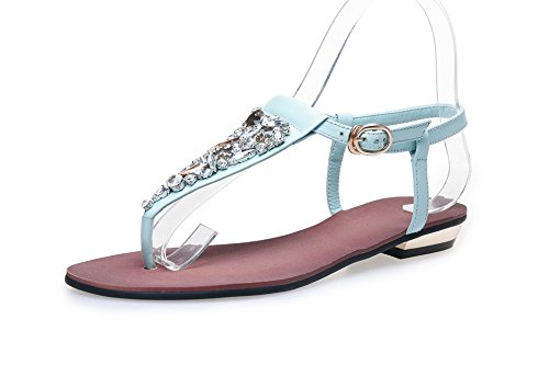 Leather Smooth Strap Peep Cold Buckle Urethane Flop Weight Studded Flop Flip Toe Sandals Womens Flip SLC03499 Blue AdeeSu Lining Flatform Sandals Ankle Light Z0P7nqw