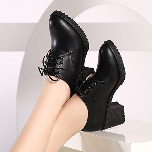 SSBY El Periodo De Primavera Y Otoño Nueva Inglaterra Corbata Profundo Grueso Con Zapatos Zapatos Con Las Chicas black