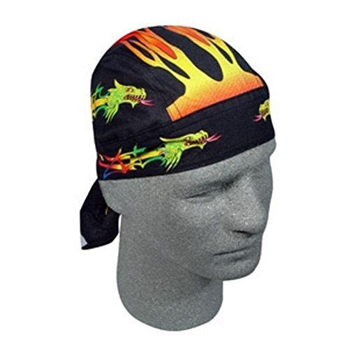 Rainbow Tribal Flames Dragon Flydanna Deluxe Doo Rag Headwrap Skull Cap Biker (Deluxe Skull Cap)