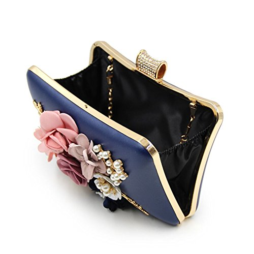 Evening Dinner Beaded Embroidered Bag Party Dresses Bags High Flower Clutch Pearl Bags Luxury Bags Bags Diamonds WUHX Evening Blue Grade P01xvn5q5w