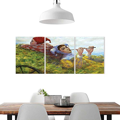 H30 Cart (Triptych Paintings Combination Decorative Frameless W14 x H30/3P Living Room, Bedroom,Hotel so onCountry Decor Collection Children Girls Enjoying The Nature on Old Cart at The Country)