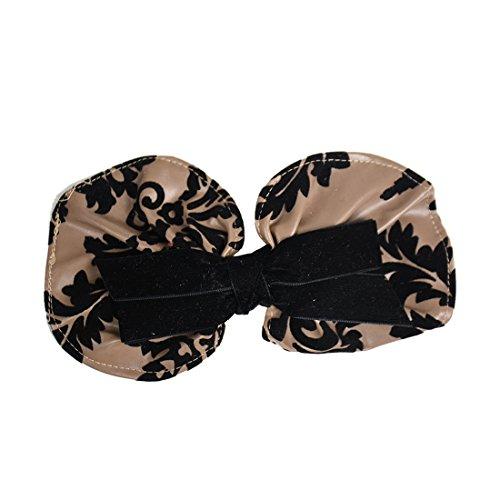 Leather Hair Bow With Black Velvet Design - Black Beige