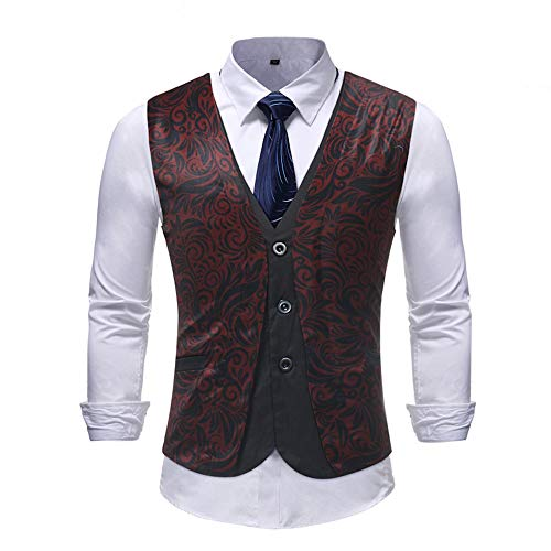 M16 Single (MAGE MALE Mens Suit Vest Dress Floral Waistcoat Single Breasted Party Tuxedo Vest (Fake 2 piece-M16, Medium))
