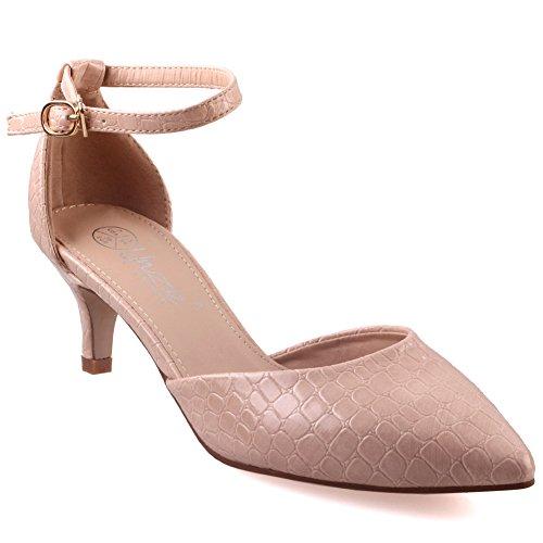 Unze Zapatos Chic puntiagudo Corte Mujeres Pattel ' Beige