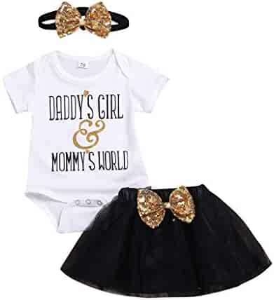 f6ab5807424e8 Toddler Kids Newborn Baby Girls' Clothes Set Father's Day Short Sleeve  Romper+Sequins Bowknot
