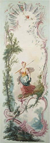 'Jacques De LaJoue (attributed To) - Seven Decorative Panels Mounted In A Screen - Girl With A Spear, C. 1730-40' Oil Painting, 18x51 Inch / 46x131 Cm ,printed On Perfect - Korean Eyeglasses