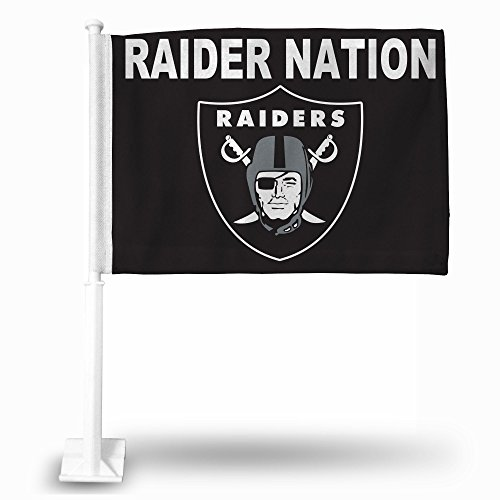 NFL Oakland Raiders Car Flag, Black, with White (Raiders Car Flag)