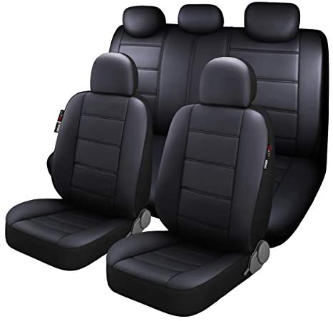 P&J AUTO Premium PU Leather Car Seat Cover Full Set in 11pcs Universal Fit for Cars Trucks Vans & SUVs Airbag Compatible Black