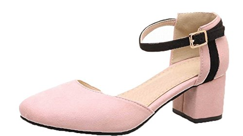VogueZone009 Women Frosted Closed-Toe Kitten-Heels Buckle Solid Sandals Pink