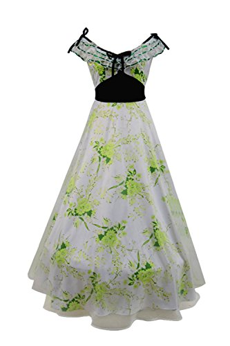 VOSTE Scarlett Costume Halloween Cosplay Party Show Long Dress for Women Girls (X-Small, White) -