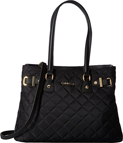 Calvin Klein Florence Quilted Nylon Tote, Black (Nylon Handbag Quilted)