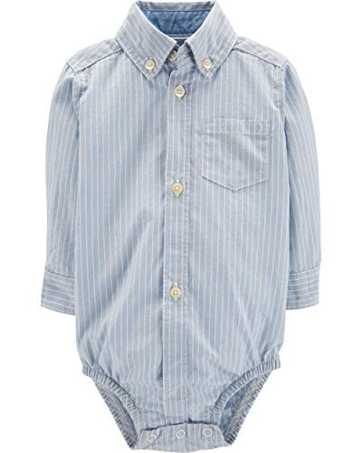 Carter's Baby Boys' Button Front Striped Poplin Bodysuit (12 months) Boys Long Sleeved Twill Shirt