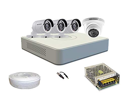 Hikvision Set Of 1+3 Dome And Bullet Cctv Camera With 4 Ch Dvr Along With Accessories. Price & Reviews