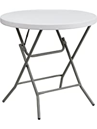 flash furniture granite 32inch round folding table white - Folding Table And Chairs