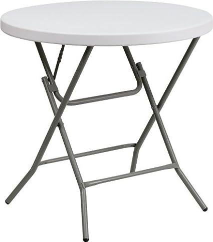 Flash Furniture Granite 32 Inch Round Folding Table, White