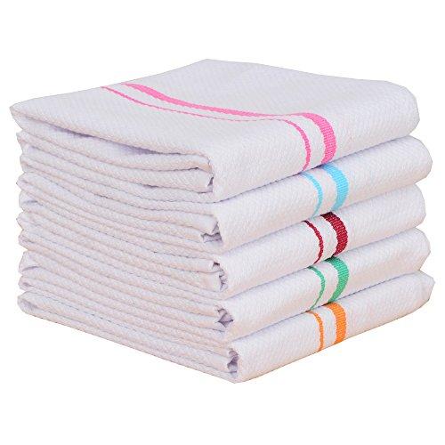 RAYKER Classic Kitchen Towels,100% Cotton Tea Towels, Best Dish Cloths, Vintage Color Stripe Design,5 Pack In Size 40x60cm