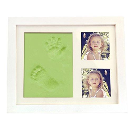 Baby Bilderrahmen Babyset für Foto, Hand- und Fußabdruck Baby Art Double Print Frame Grün