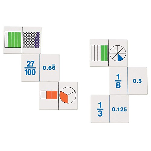 hand2mind Plastic Fraction and Decimal Dominoes Game, Math Manipulative Tiles (Set of 30)