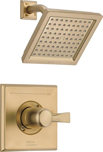 Delta Faucet Dryden 14 Series Single-Function Shower Trim Kit with Single-Spray Touch-Clean Shower Head, Champagne Bronze T14251-CZ (Valve Not - Antique Bronze Kit Trim