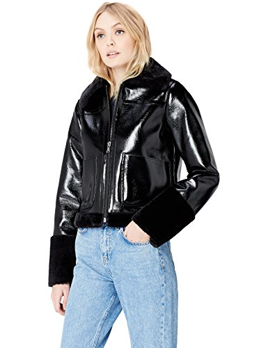 Vinyl FIND in Women's Schwarz Fur Faux Black Jacket and THHRxtr
