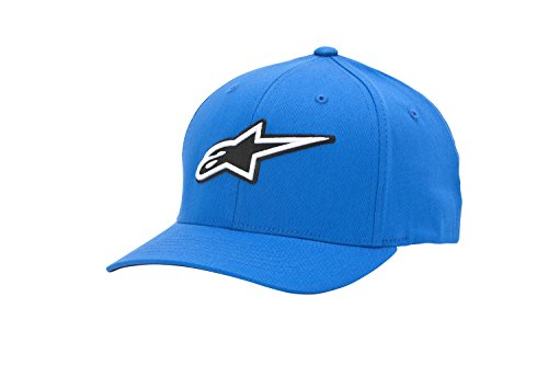 Alpinestars Men's Curved Bill Structured Crown Flex Back 3D Embroidered Logo Flexfit Hat - Back Structured Cap