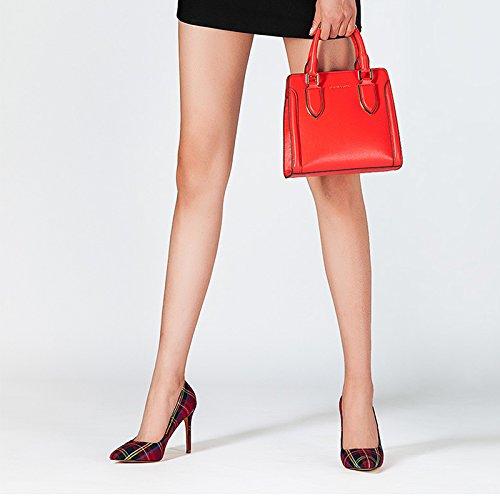 JIANXIN Frauen Frühling Und Sommer Sexy Spitze Damenschuhe Damenschuhe Damenschuhe Mit Dünnen Stilettos Und High Heels OL Einzigen Schuhe. (Farbe   rot größe   EU 38 US 7 UK 5 JP 24.5cm) b3bfb8