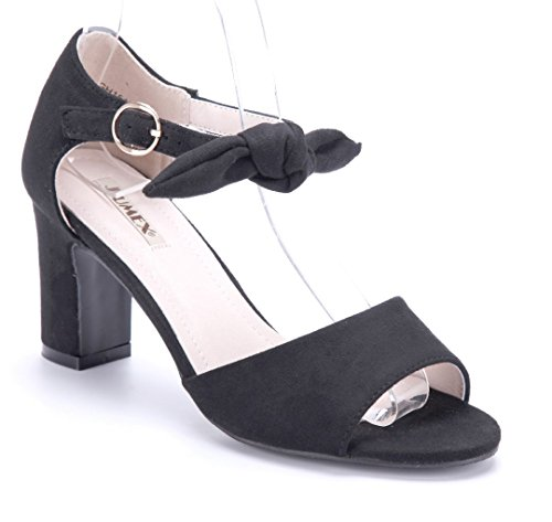 Schuhtempel24 Damen Schuhe Sandaletten Sandalen Blockabsatz Zierschleife 8 cm Schwarz